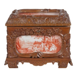 19th Century French Carved & Hand-Painted Pastoral Scenes Tile Jewelry Box For Sale