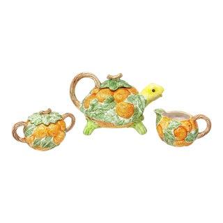 Vintage 80s Fitz & Floyd Orange Citrus Turtle Teapot With Creamer & Sugar - Set of 3 For Sale