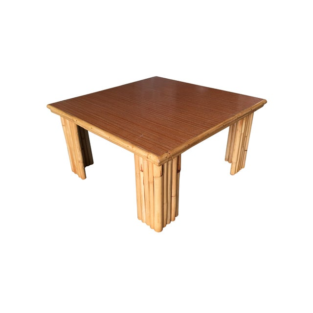 Brown Extra Wide Rattan Coffee Table With Formica Top For Sale - Image 8 of 8