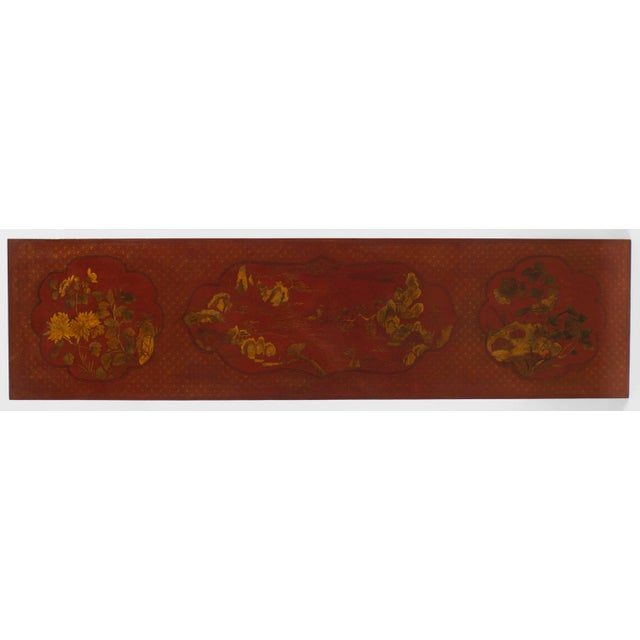 Asian Pair of Asian Chinese Style Red Lacquer Chinoiserie Decorated Altar Console Table For Sale - Image 3 of 10