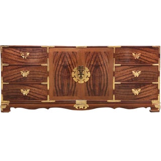1970s Chinoiserie Ornamented Burl Wood Dresser or Credenza For Sale