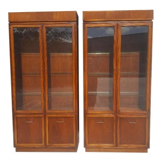 Walnut Vitrines, a Pair For Sale