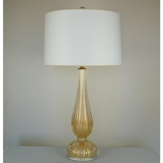 Contemporary Vintage Murano Glass Table Lamps Gold For Sale - Image 3 of 10