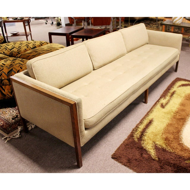Cream Mid Century Modern Sofa Wood Framed Probber Knoll Attributed 1960s For Sale - Image 8 of 10