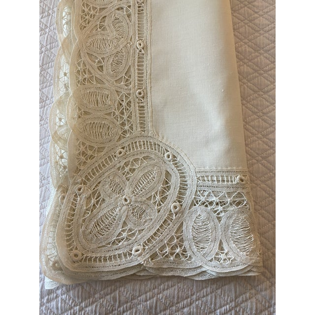 Victorian Antique Battenberg Tape Lace Tablecloth, 8 Placemats, Runner and 8 Napkins, 4 Cocktail Napkins- 22 Piece Set For Sale - Image 3 of 8