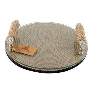 Contemporary Tommy Bahama Jute and Chrome Drink Serving Tray For Sale