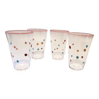 Polka Dot, Pink-Rimmed Hand-Blown Tumblers - Set of 4 For Sale