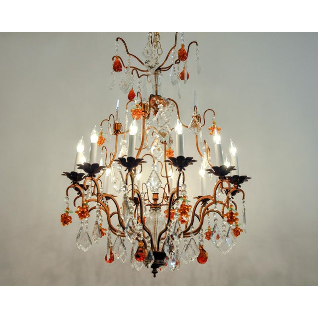 Contemporary Venetian Murano Crystal Fruit Design Chandelier For Sale - Image 3 of 11