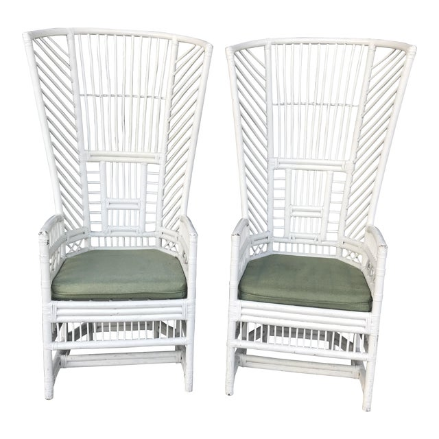 Vintage Rattan High Back Chairs - a Pair - Image 1 of 11