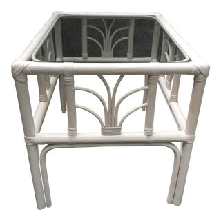 Vintage Rattan Glass Top End Table For Sale