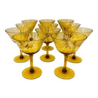 Set Vintage Amber Glasses For Sale