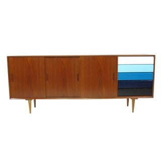 Teak Credenza With Sliding Doors and Color Blocked Drawers For Sale