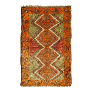1950s Vintage Turkish Oushak Miniature Rug - 1′10″ × 2′11″ For Sale