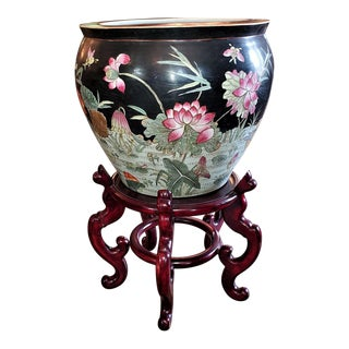 Chinese Famille Noire Fish Bowl Side Table With Stand For Sale