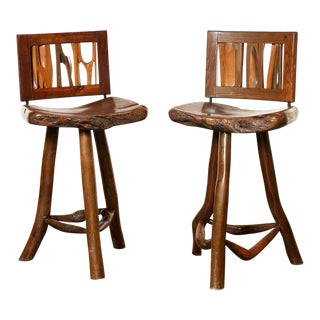 1970s Organic Modern California Wood Counter Height Stool- A Pair For Sale