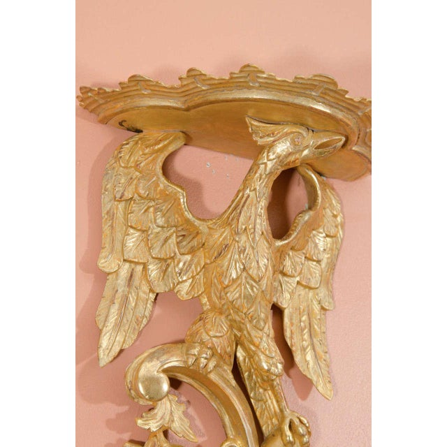 Wood Pair of Rococo Giltwood Phoenix Brackets For Sale - Image 7 of 8