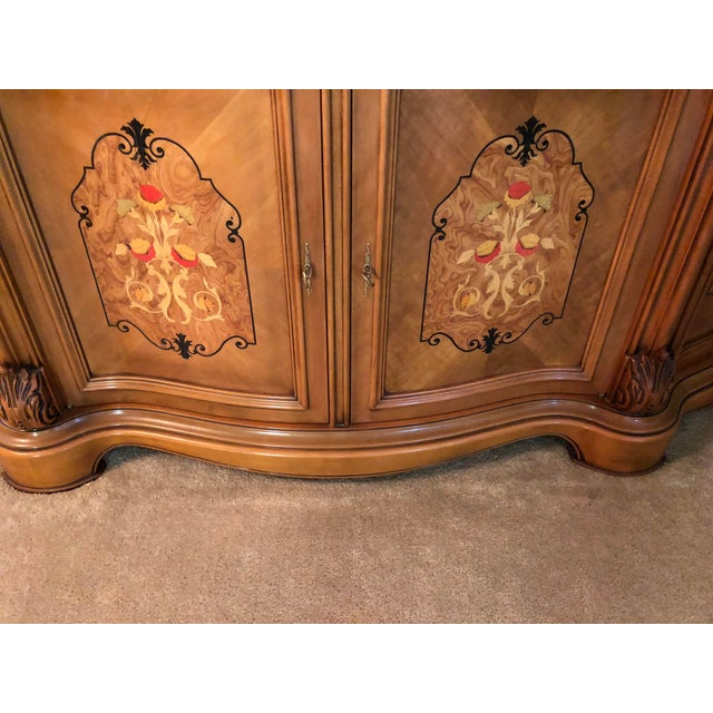 Italian Golden Walnut China Cabinet For Sale - Image 3 of 4