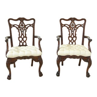 Maitland Smith Carved Georgian Mahogany Arm Chairs - a Pair For Sale