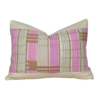 African Boho Chic Handwoven Aso Oke Khaki and Pink Cotton Pillow Cover For Sale