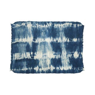 Boho Chic Indigo Shibori Cotton Floor Rug For Sale