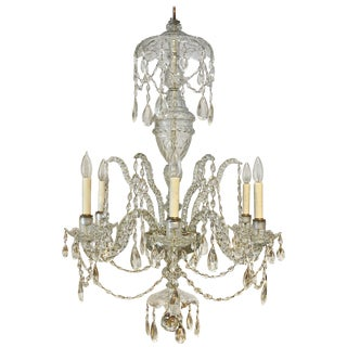 19th Century English Georgian Crystal Chandelier For Sale