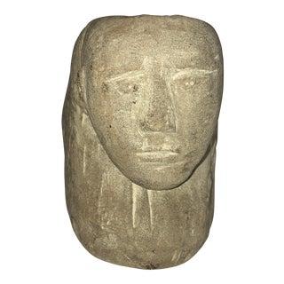 Folk Art Stone Sculpted Head For Sale