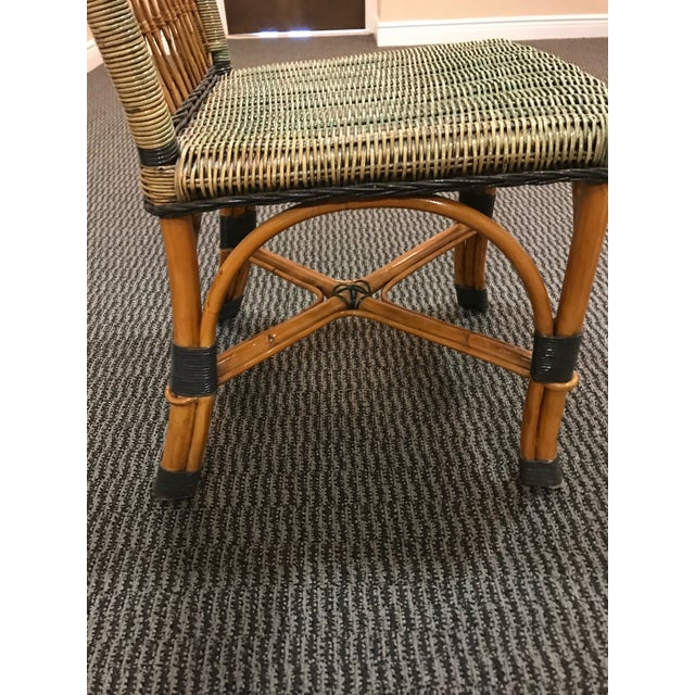 1970s Grange Stained Rattan and Wood Dining or Patio Chairs -Set of 6 For Sale - Image 5 of 8
