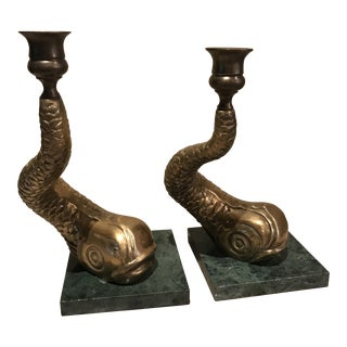 Midcentury Modern Large Brass Koi Candlesticks on Green Marble Bases - a Pair For Sale