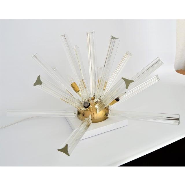 Venini Mid-Century Modern Italian Venetian Glass & Brass Sputnik Table Lamp Millennial - Image 3 of 11