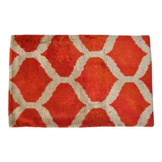 Silk Velvet Ikat Pillow in Orange & White For Sale