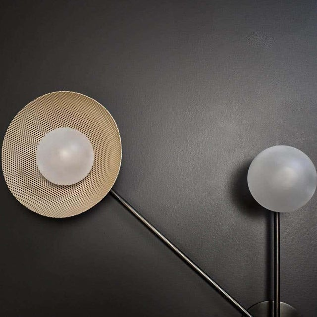 Mid-Century Modern Division Wall Sconce or Flushmount in Oil-Rubbed Bronze, Mesh & Blown Glass For Sale - Image 3 of 8