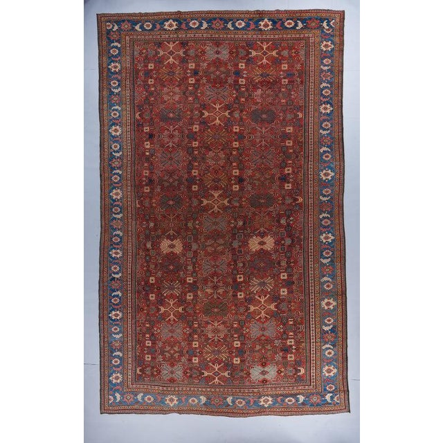 Tomato Red Ground Oversized Mahal Carpet For Sale - Image 4 of 4