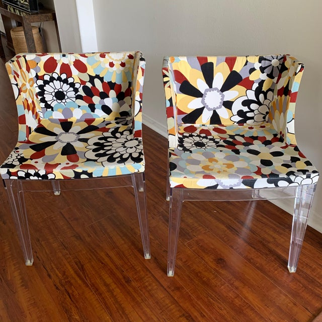 """By iconic Philippe Starck for Kartell: comfortable and chic. These authentic Kartell """"Mademoiselle"""" Missoni armchairs work..."""