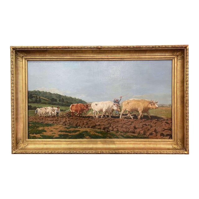 """Mid-19th Century French Oil on Canvas Cows Painting """"Plowing in Nivernais"""" For Sale"""