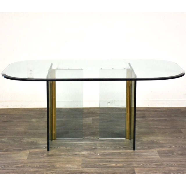 Pace Collection Glass and Brass Modern Dining Table For Sale - Image 9 of 9