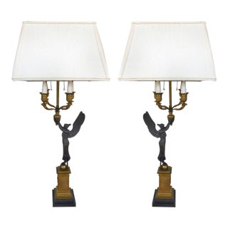 19th Century Bronze Candelabra Lamps, Pair For Sale