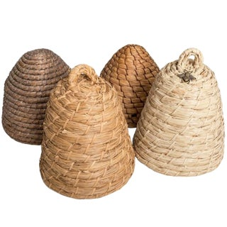 Vintage Collection of Raffia Beehives For Sale