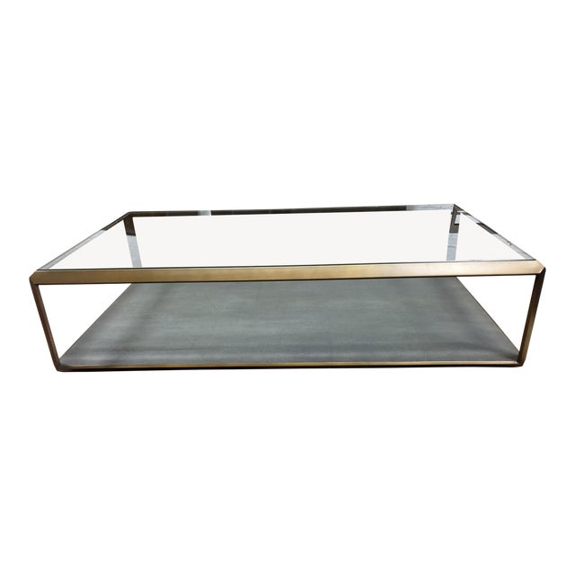 New Four Hands Bentley Shagreen Shadow Box Coffee Table For Sale