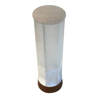1970s Mid Century Modern Accent Floor/Table Lamp Teak Base Pearl Frosted Acrylic Shade For Sale