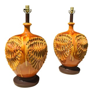 Mid-Century Drip Glaze Pierced Lamps Honeycomb Lamps Beehive Lamps - a Pair For Sale