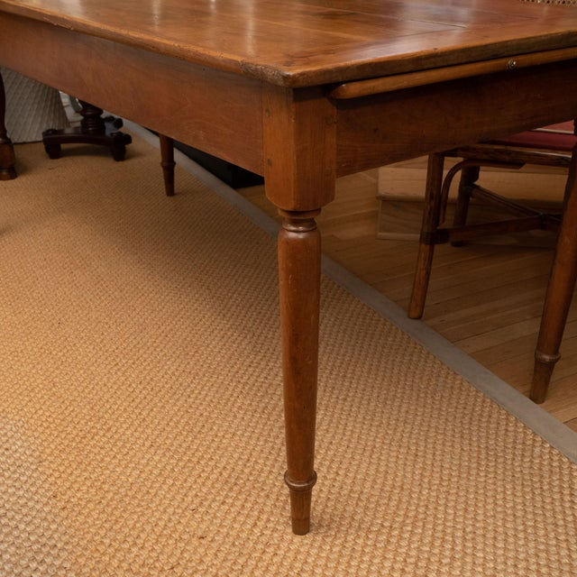 French Provincial Cherrywood Farm Table For Sale - Image 9 of 11