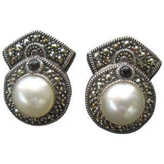Judith Jack Opulent Sterling Marcasite Pear Clip Earrings For Sale