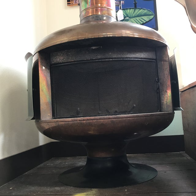 Malm Copper Firedrum Fireplace For Sale - Image 11 of 11