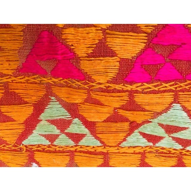 Red Phulkari Wedding Shawl, Silk Embroidery on Cotton, Punjab India 20th Century For Sale - Image 8 of 13