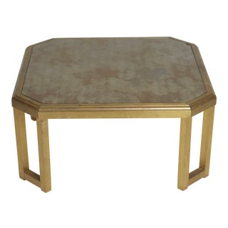 1970 Willie Rizzo Style Marbled Glass & Brass Coffee Table