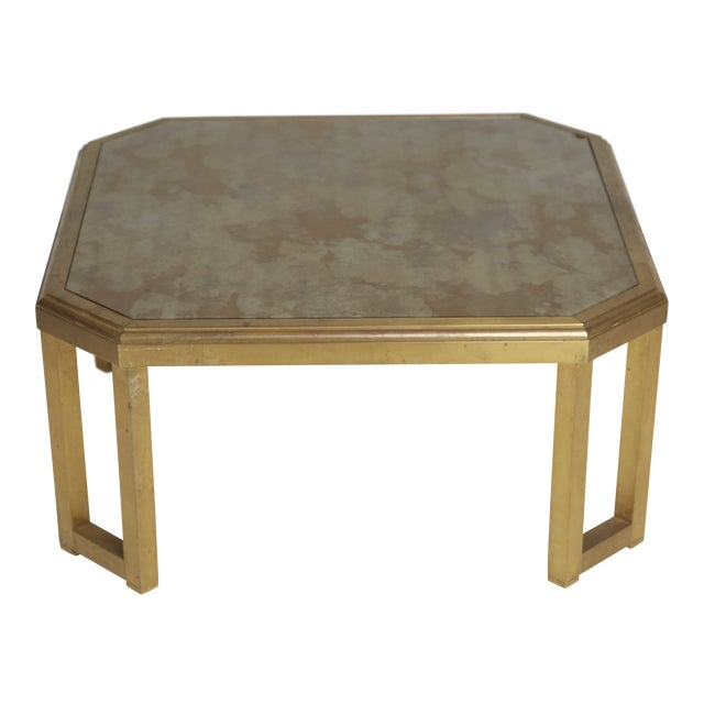1970 Willie Rizzo Style Marbled Glass & Brass Coffee Table For Sale