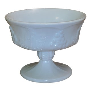 Vintage Milk Glass Serving Plate/Pedestal Dessert Dish With Grapevine Pattern For Sale