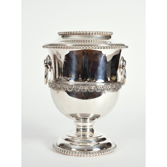 Vintage English Silver Plate Two-Piece Wine Cooler or Ice Bucket For Sale - Image 9 of 10