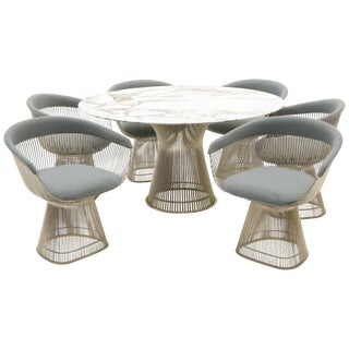 Marble Dining Table and Six Chairs by Warren Platner for Knoll For Sale