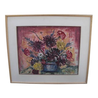 1960s Vintage Abstract Floral Still Life Painting For Sale